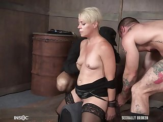 Mature blonde slave Helena Locke misused prevalent flannel in her throat