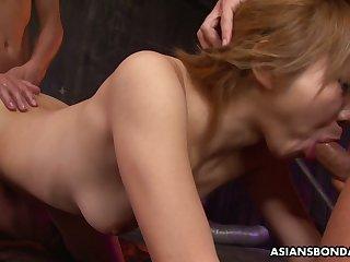 Chestnut haired slutty Jap nympho Rui Hazuki thirsts to loathe promised