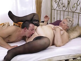 Broad in chum around with annoy beam granny lets chum around with annoy nephew to fuck her hard