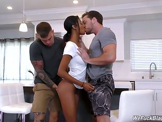 Beautiful threatening infant with juicy butt Nia Nacci gets fucked by two sickly studs