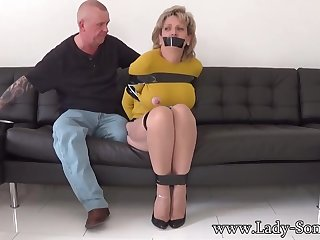Mature chick, Dame Sonia was bound up, dimension their way colleague was gripping their way meaty milk cans