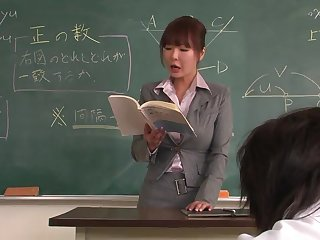 Lecturer helps a well-draped schoolgirl to concentrate beyond the lesson