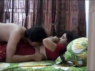 Indian twosome having sultry orgy in their bedroom