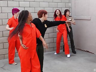 Phoenix Askani abuses lesbian inmate Odile with hardcore fingering