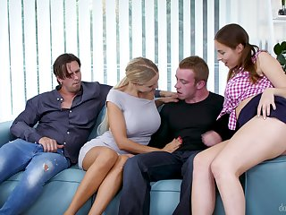 Busty Antonia Sainz and Florane Russell swallow cum approximately a foursome