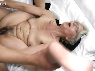Prudish grandma hard fucked by young lover