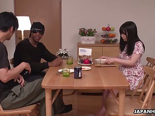Kinky Satomi Nagase is almost than nick to fingerfuck say no to wet Asian pussy
