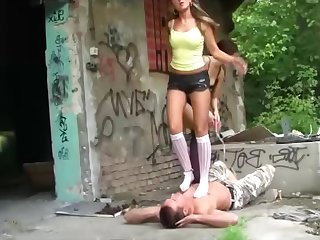 Sadistic cavalier heels and barefeet trampling by two german mistress