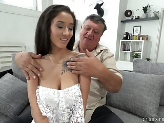 Old sugar daddy enjoys fucking lovely brunette newborn fro ambrosial boobies Darcia Lee