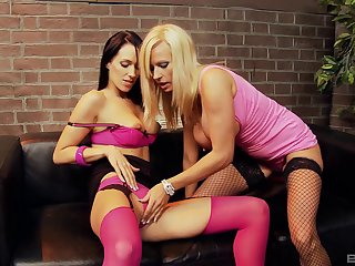 Blazing girl on girl action with morose lesbian couple