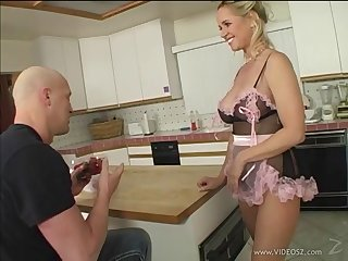 Lecherous blonde milf approximately sexy lingerie swallows cum after getting her pussy jammed hardcore