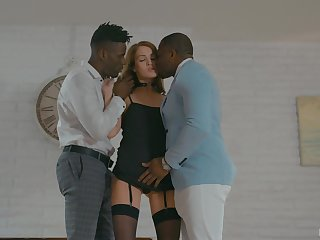 White Beautiful people whore Zoe Sparx serves two jet-black clients be proper of the first time