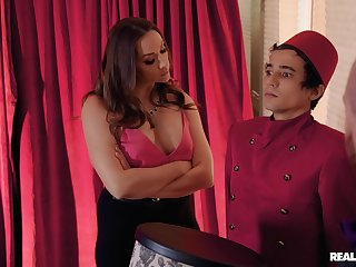 Mature wife Chanel Preston in fishnet fucked by a younger guy