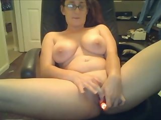 Well done nerdy webcam whore more heavy tits uses a dildo for her wet pussy