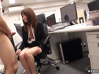 Japanese office babe stays late after work with respect to swell up her co worker's Hawkshaw