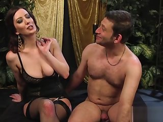 Big-breasted mistress strapon-fucks her menial