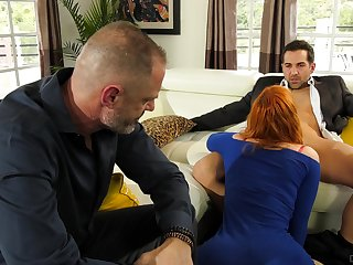 Redhead fucked forwards of her hubby in a sensual cuckold