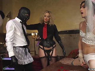 Feminized bride butt fucking toyed by mistress
