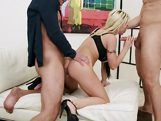 Blondie deals these poikilothermal dicks in a wild XXX triumvirate