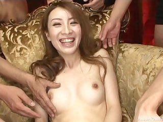 Japanese pornstar Anje Hoshi spreads her legs to shudder at pleasured