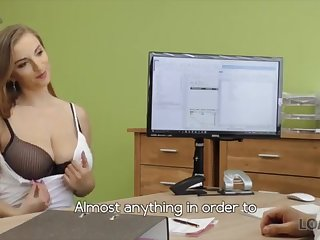 LOAN4K: Warm woman with meaty amusement bags fitting for a loan